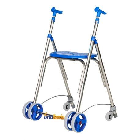 Andador aluminio Kamaleon con ruedas traseras para exterior color azul