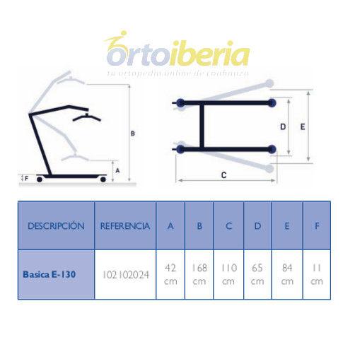tabla de medidas de la Grúa básica E130