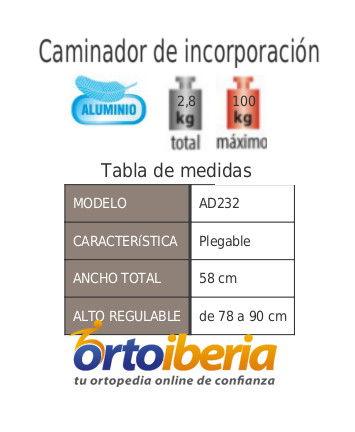 tabla de medidas del Caminador de incorporación de aluminio AD232