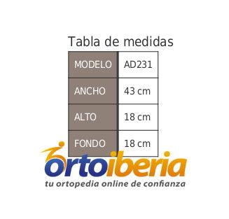 Tabla de medidas de la cesta para andador AD231