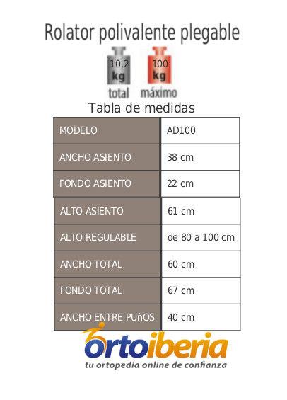 Tabla de medidas del Caminador Rolator Polivalente AD100