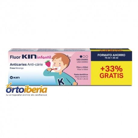 PASTA DE DIENTES FLUOR KIN INFANTIL 75 ML + 25 ML GRATIS