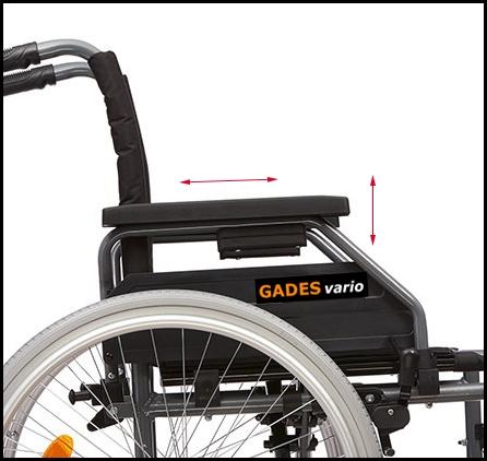 Reposabrazos regulables de la silla de ruedas Gades Vario