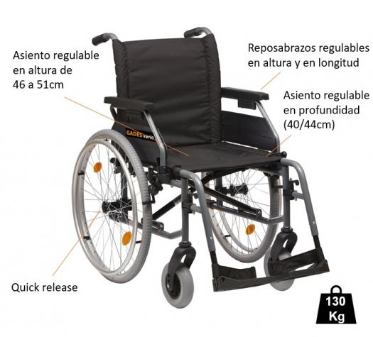 Características de la silla ruedas ligera Gades Vario 600